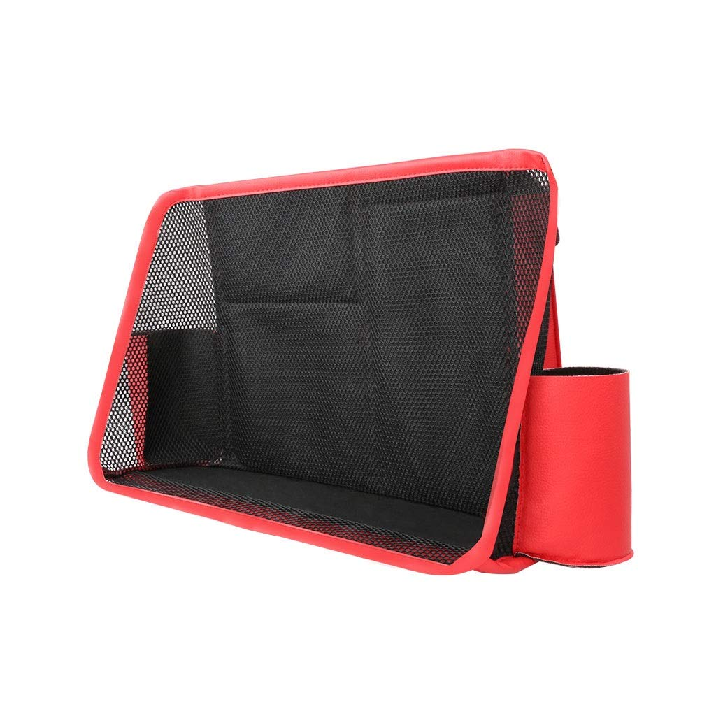 Car Rear Seat Hanging Storage Bag PU Leather Car Rack Seat Management Garbage Bag Interior Accessories (Color : Red)