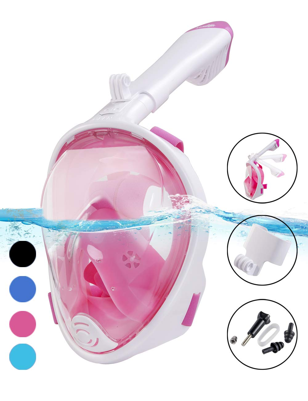 X-Lounger Snorkel Mask, 2019 New Foldable Snorkeling Mask Full Face with Detachable Camera Mount Pivot Arm and Earplug, 180° Large View Easy Breath Dry Top Set Anti-Fog Anti-Leak for Adults Pink S M