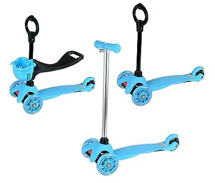 HLC 3 en 1 Patinete con 3 ruedas ajustable en altura,color azul