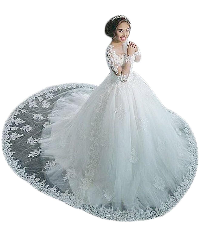 TBGirl Sheer Jewel-Neck Applique Vintage Arabic Dubai Lace Wedding ...