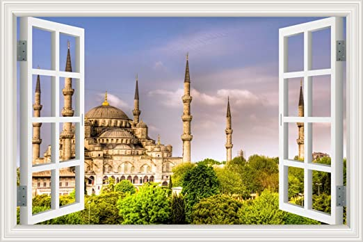 "Amazon.com: GreatHomeArt Removable Wall Stickers Muslim 3D Window View Holy  Mosque Wall Mural Decals for Living Room Decor,Peel and Stick Wallpaper  -24""x36"": Home & Kitchen"