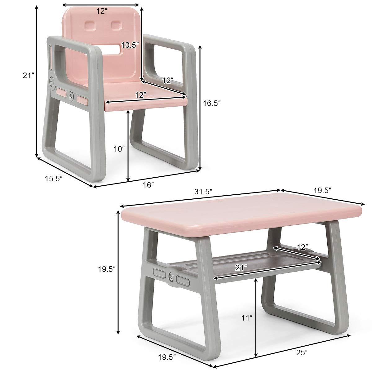 Costzon 3 Piece Kids Table and 2 Chairs Set, Learning Activity Play Table, Baby Dining Table, Children Desk Chair for 1-3 Years, Kids Furniture Set (Pink) by Costzon (Image #7)