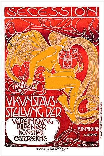 Butterfly Wings Postcard - Koloman Moser Vienna Secession Vintage Art Poster Print 24x36