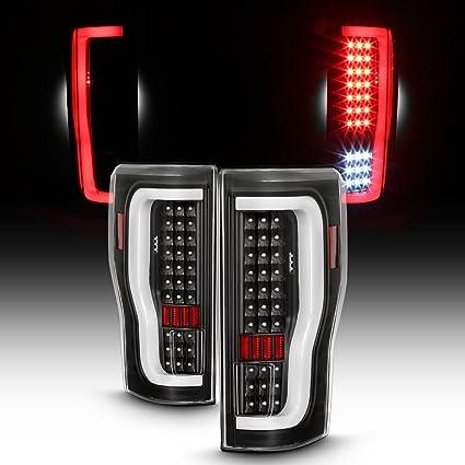For 2017 18 Ford F250 F350 Full LED Daytime Running Lamp Bar Tail Lights Black Housing Clear Lens Set