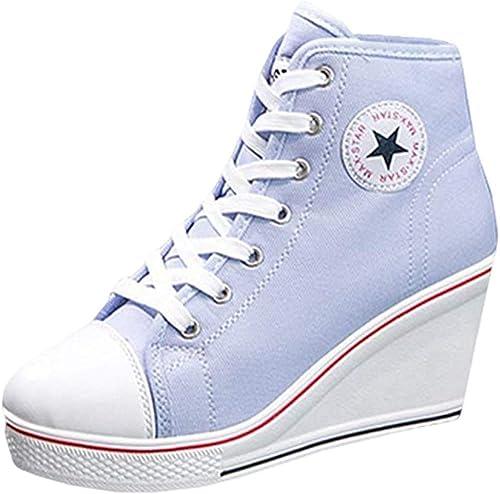 Mxssi Canvas Schuhe Damen Mädchen Atmungsaktives und Mode Keilabsatz Turnschuhe Schnürschuhe Reißverschlussschuhe Sneaker für Sport Freizeit Größe