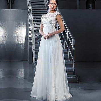 LUCKY-U Vestido de novia Una línea de gasa Vestidos de novia nupciales Vestido de