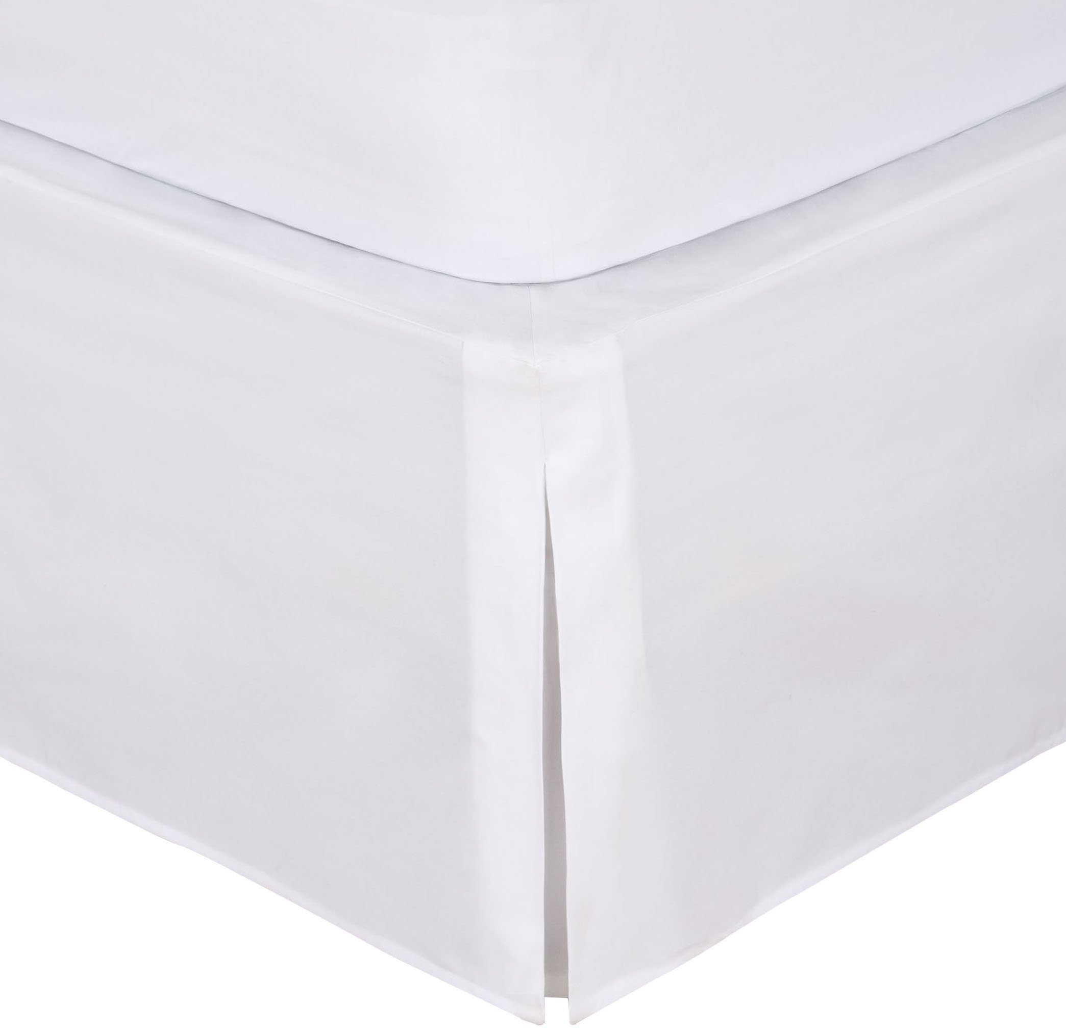 """Levinsohn Magic Skirt Tailored Bedskirt, Never Lift Your Mattress, Classic 14"""" drop length, Pleated Styling, King, White"""