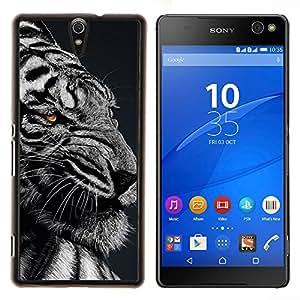 YiPhone /// Prima de resorte delgada de la cubierta del caso de Shell Armor - Feroz enojado enojado Tigre Negro Blanco - Sony Xperia C5 Ultra