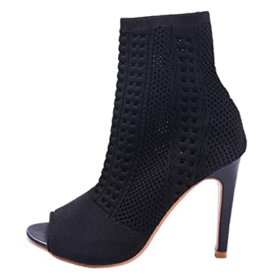 8c7d385f8d64f Inornever Women's Mid Calf Open Toe Sock Boots Stiletto Heel Knitted Heeled  Stretch Ankle Booties Pumps