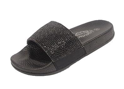 6727ee8652a8 Kids Girls Diamante Slides Rubber Sliders Flats Shoes Slider Slipper Sandal  Size (UK 11