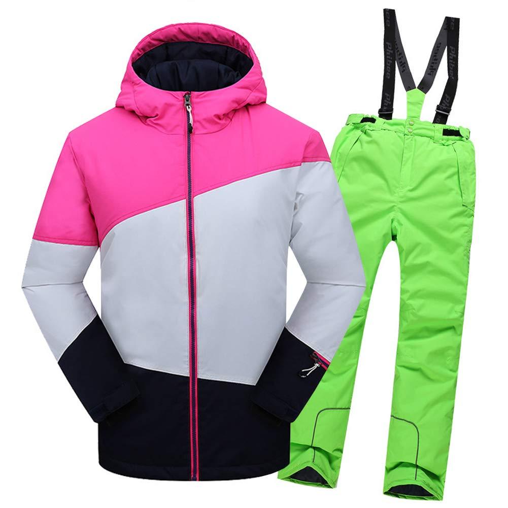 Top Rose+pantalon Vert 2-3 ans  hauteur recomhommedée 95-105cm LPATTERN Enfant Garçon Fille Ensemble de Ski Coupe-Vent Combinaison Unisexe de Ski Imperméable Chaud épais 2PCS 3-13ans