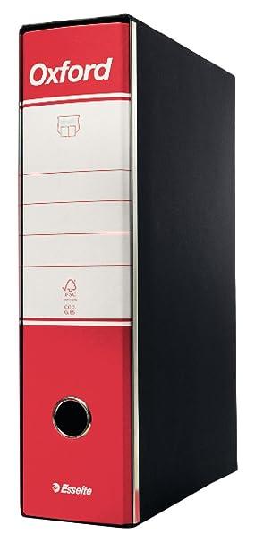 Esselte Oxford - Archivador de anillas con palanca, negro y rojo [1 unidad]: Amazon.es: Oficina y papelería