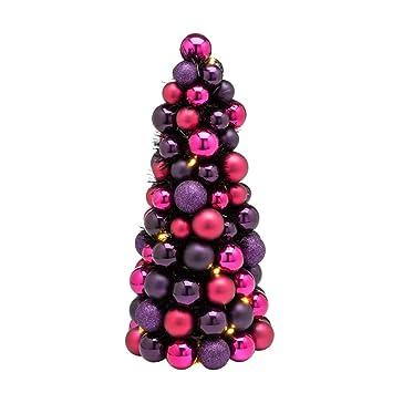 Weihnachtsdeko Lila.Pureday Weihnachtsdeko Kugelpyramide Flitter Led Beleuchtet Höhe Ca 40 Cm Lila Rot