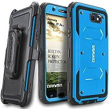 Samsung Galaxy J7 Perx Case, COVRWARE [Aegis Series] w/ Built-in [Screen Protector] Heavy Duty Full-Body Rugged Holster Armor Case [Belt Swivel Clip][Kickstand] For J7 Perx, Blue