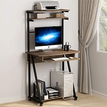 Amazing Tribesigns 3 Tier Computer Desk With Printer Shelf And Keyboard Tray Rolling Compact Work Desk Workstation For Small Space Home Office Download Free Architecture Designs Scobabritishbridgeorg