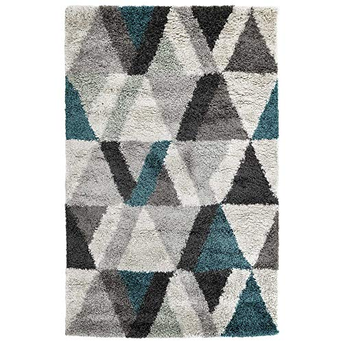 - Liora Manne ADS58624104 6241/04 Teal Andes Fluffy Soft Shag Triangle Indoor Rug, 4'10