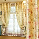 Cheap MZPRIDE Modern Upscale Bird's Nest Embroidered Floral Blackout Curtains Rustic Country Style Curtains 2 Panels Shades