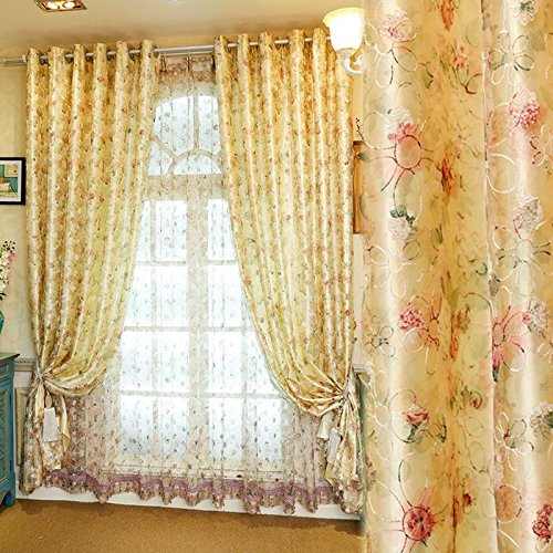 MZPRIDE Modern Upscale Bird's Nest Embroidered Floral Blackout Curtains Rustic Country Style Curtains 2 Panels Shades