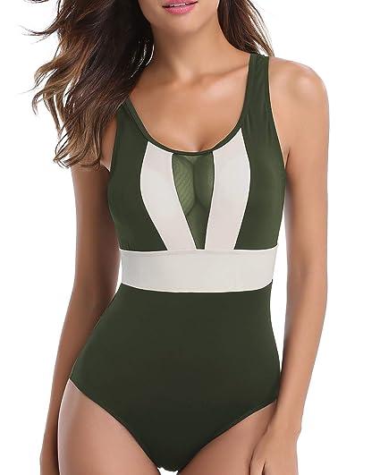190e8f92845 Holipick 1 Piece Swimsuits for Women See Through Top Cut Out Padded U Neck  Monokini Swimwear