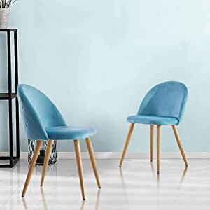Juego de 2 sillas de comedor tapizadas de terciopelo con respaldo y patas de transferencia de metal para comedor, la sala de estar y el dormitorio,
