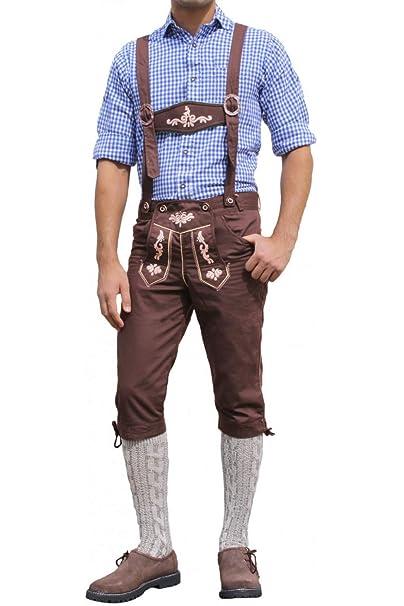 De cuero Pantalones, Knickerbockers trajes vaqueros pantalones de algodón con tirantes de Brown