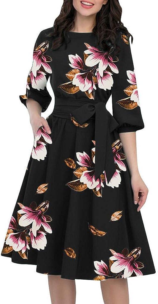 ReooLy Vestido Informal Elegante con Escote en Forma de ...