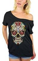 Awkwardstyles Sugar Skull Rose Eyes Off Shoulder Tops T-shirt + Bookmark