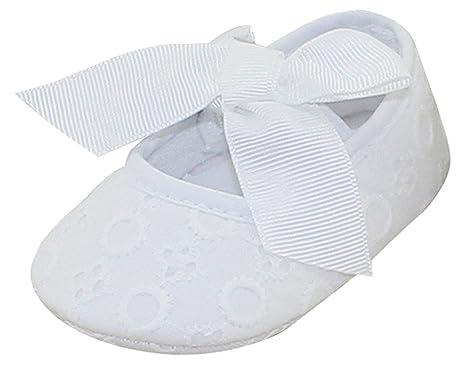 Aivtalk Nouveau né Chaussures coton Semelles Souples Bébé fille premier pas  chausson avec Nœud papillon Baptême 21094af5e999