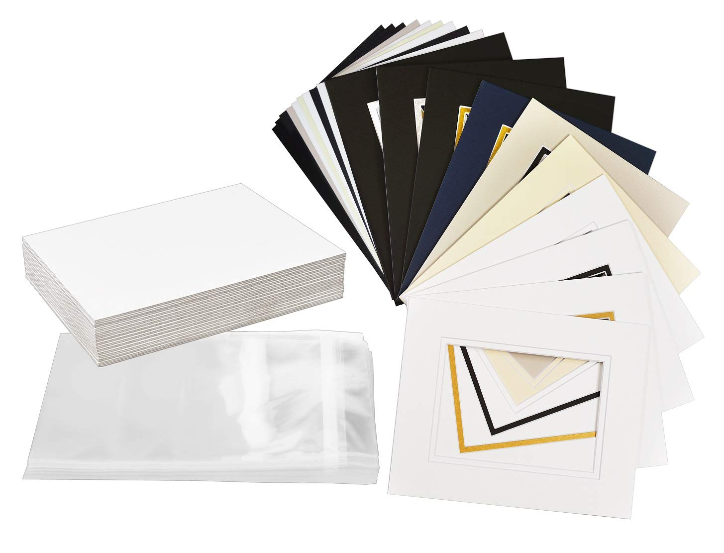 Golden State Art, Pack of 25 Complete Set, Mix Colors 8x10 Double Mat for 5x7 Photo Pictures with White Core Bevel Cut Mattes. Includes 25 Acid Free Double Mats & 25 Backing Board & 25 Clear Bags by Golden State Art
