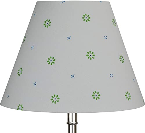 FenchelShades.com Lampshade 6 Top Diameter x 12 Bottom Diameter x 9 Slant Height with Washer Spider Attachment for Lamps with a Harp White with Green Blue Pattern