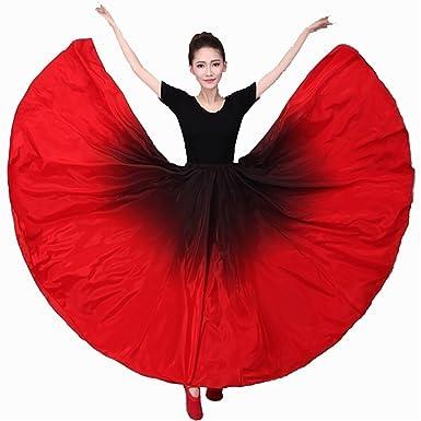 12a26f849a23 Amazon.com: Women Latin Practice Dance Big Swing Skirt Tango Cha Cha  Spanish Frill Pleated Dress Modern Ballroom: Clothing