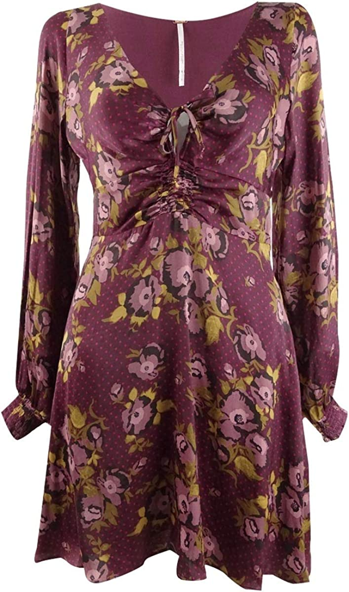 Free People Womens Morning Light Floral Print Ruched Casual Dress
