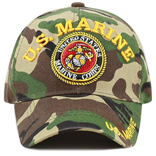 THE HAT DEPOT Official Licensed 3D Embroidered Military One Size Cap (Woodland Camo-U.S. Marine)