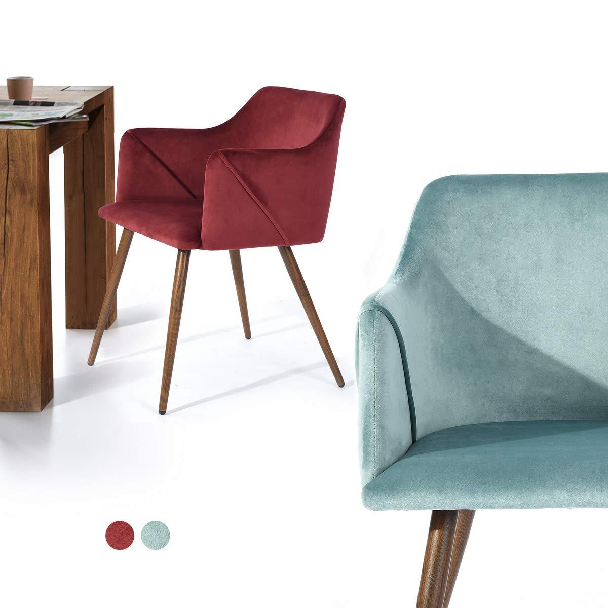 Colore: Rosso Furnish Set di 2 sedie da Salotto in Velluto Multicolore per Soggiorno con Piedi in Metallo in Legno