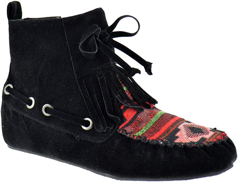 Nature Breeze Cherokee 14 Womens Fringe Tribal Pattern Fringe Moccasin Ankle Booties
