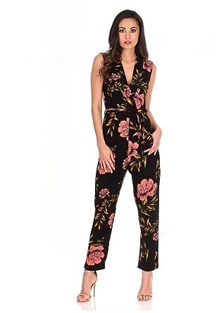 95eaee5a58f1 Amazon.com  AX Paris Women s V-Neck Floral Print Jumpsuit  Clothing
