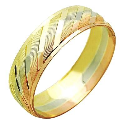 Amazon Com 14k Tri Color Gold 6mm Wedding Engagement Ring Dc
