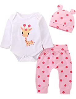 Newborn Infant Baby Girl Cotton Outfit Long Sleeve Romper Floral Pants Headband Hat Set for 3