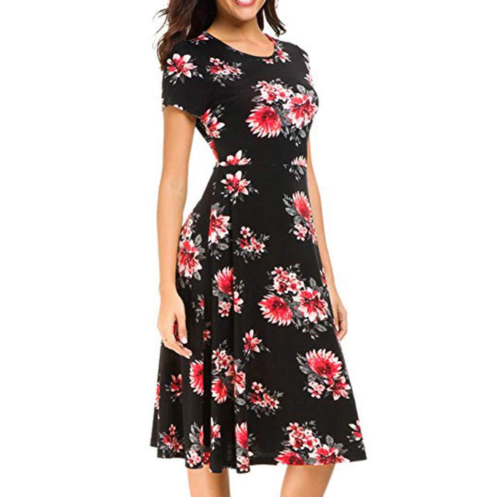 FarJing Women Vintage Boho Summer Flared Sleeve Beach Printed Short Mini Dress(L,Black