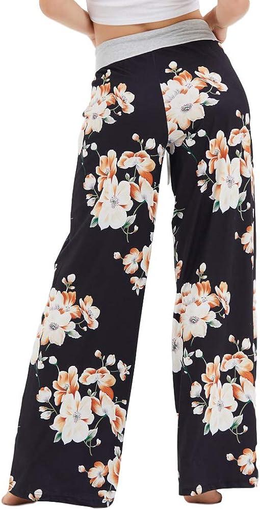 Eyoung Womens Pajama Lounge Pants Stretch Floral Print Drawstring Long Wide Leg Lounge Pants