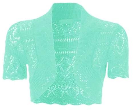 My Fashion Store New Kinder Mädchen zuckt Bolero Häkel Strick mit Short Cap Sleeve Tops UK Größe 2–13 Jahre