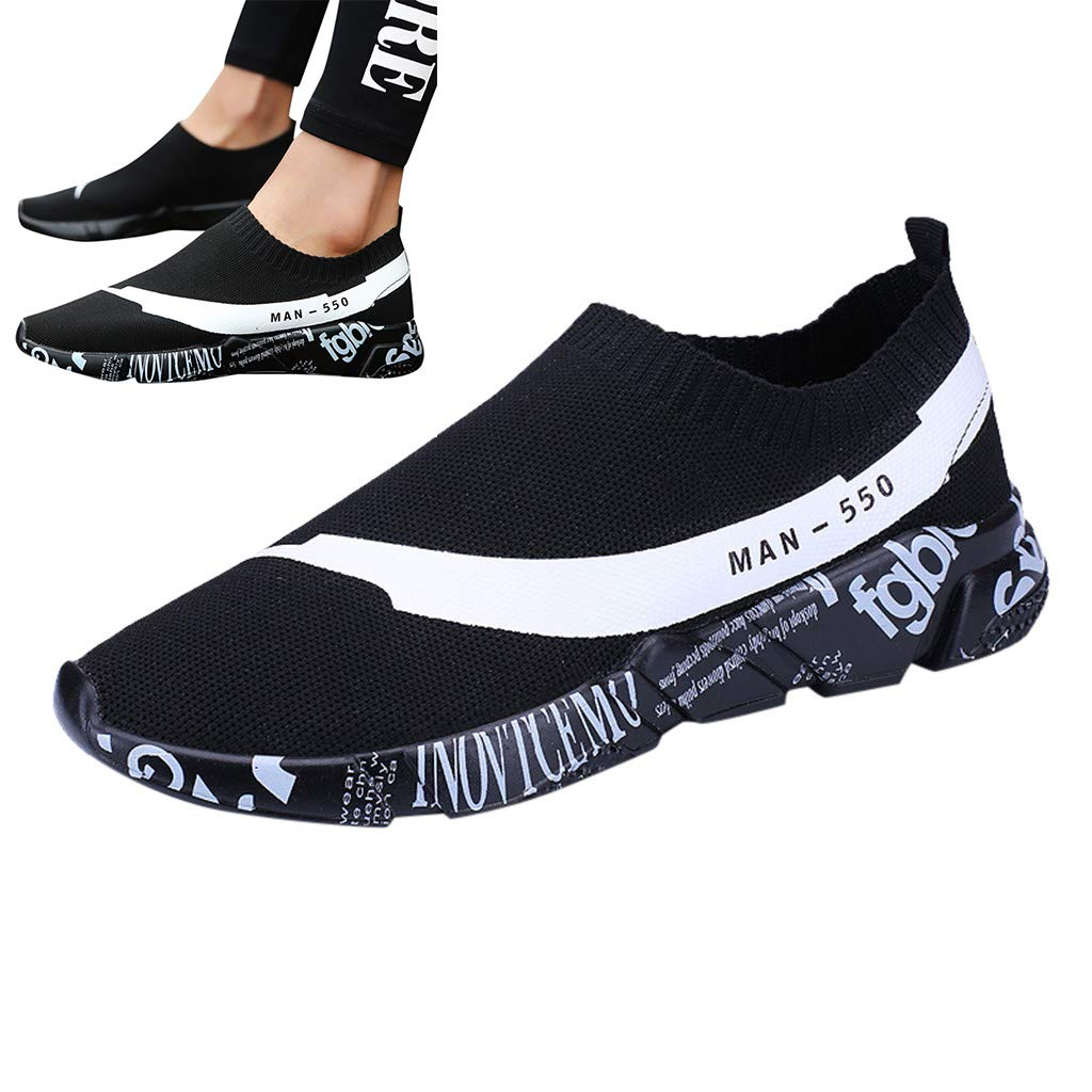 Wkgre Couple Shoes Men Women Fashion Outdoor Mesh Sneakers Casual Sports Flying Woven Running Shoes Tide Classic Shoes (US:5, Black)