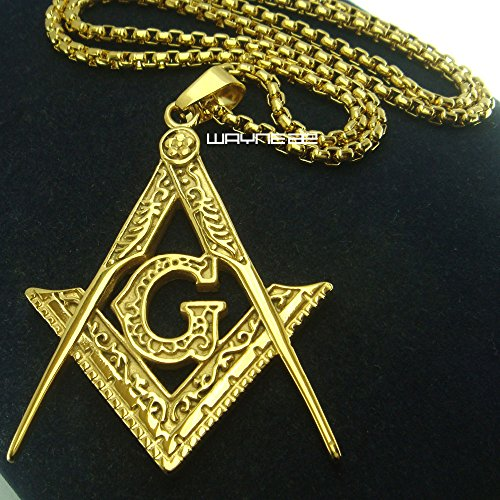 Ahappy 18k sculpture Freemasonry necklace N275 product image