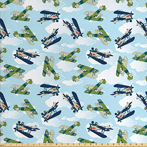 Airplane Decor Fabric by the Yard by Ambesonne, Vintage Allied Plane Flying Pattern Cartoon Children Kids Repeating Toys shark Teeth , Decorative Fabric for Upholstery and Home Accents - Allied Wide Table