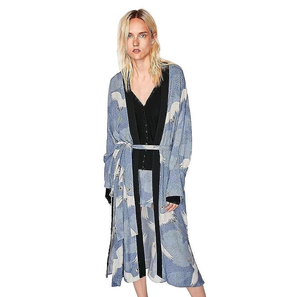 Abrigos Largos Bohemia de Mujeres, Holacha Tops de chal Oversized Estilo Kimono ganso salvaje Impreso Casual Moda Nuevo (M): Amazon.es: Ropa y accesorios