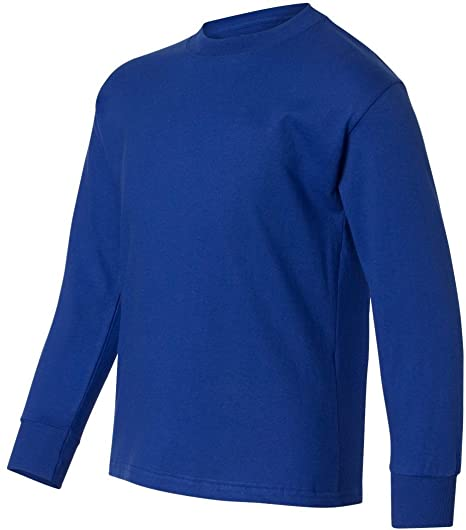 562f6ce1 Image Unavailable. Image not available for. Color: Hanes boys Youth  ComfortSoft TAGLESS Long-Sleeve T-Shirt(5546)-DEEP