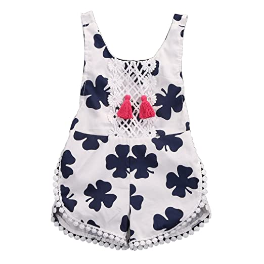 45a05800ee7 ONE S 2017 Summer Infant Baby Toddler Girls Lace Floral Tassel Ball Bodysuit  Romper Outfits (0