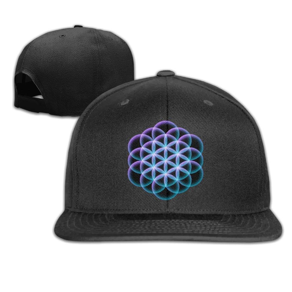 a33d6477db6 VPausy Flower Of Life Mandala Cool falt Hat Adjustable Baseball Cap at  Amazon Men s Clothing store