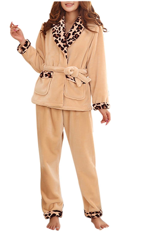 VECJUNIA Women Sexy Leapard Warm Supersoft Flannel Winter Nightwear Pyjamas Set Leopard XXL
