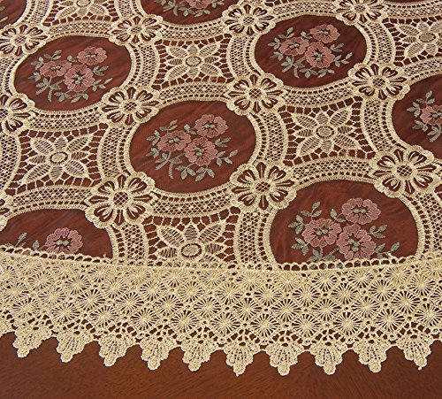 Vintage Burgundy Lace Tablecloth Oval Embroidered Table